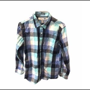 Old Navy Madras Plaid Button Down Shirt 14 16 Blue